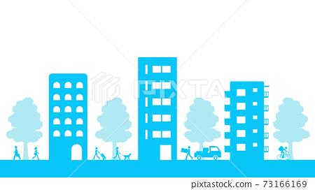 在大街上走來走去的人們到處都是公寓和公寓 73166169