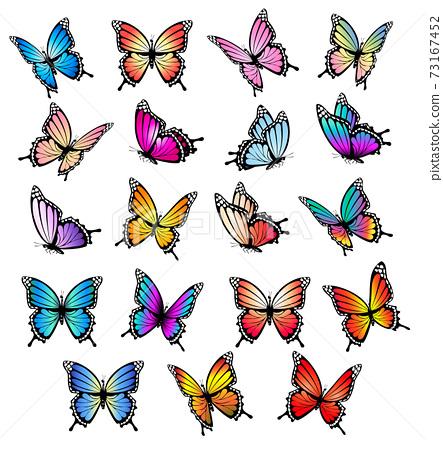 Colorful butterflies set. Vector. 73167452