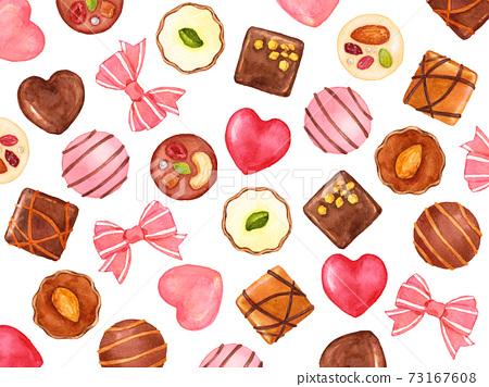 絲帶和巧克力糖果分散在水彩 73167608