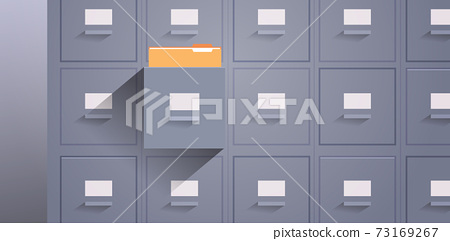 office wall of filing cabinet with open card catalog document data archive storage folders for files business administration 73169267