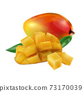 Composition of whole and diced mango with green leaves. 73170039