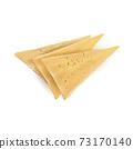Three triangular yellow slices of appetizing cheese. 73170140