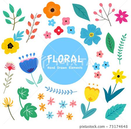 꽃과 나뭇잎의 일러스트 세트 봄의 식물에 의한 수공 맛 73174648