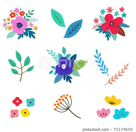 꽃과 꽃다발의 일러스트 세트 봄의 식물에 의한 수공 맛 73174650