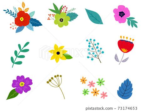 꽃과 잎의 일러스트 세트 봄의 식물에 의한 수공 맛 73174653
