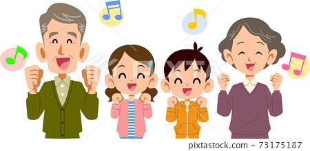 즐겁게 희망을 가진 남녀 어린이와 조부모 73175187