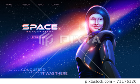 the lady astronaut in a spacesuit is smiling with happiness with the background of the massive universe 73176320