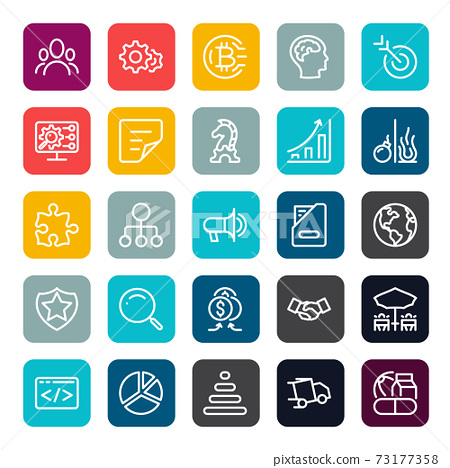 The icon design can use with business marketing online or financial such as investment benefit or return with outline lineal on square color shape. vector infographic. 73177358
