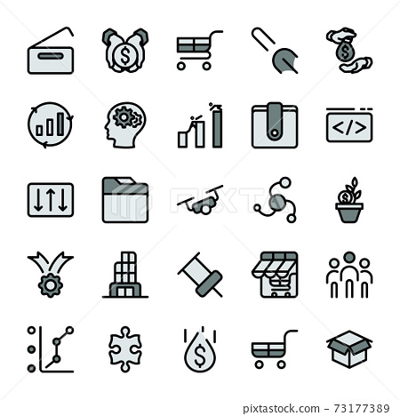 The icon business marketing design outline with dark gray color tone. vector infographic. 73177389