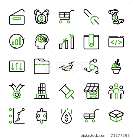 Business marketing and investment icon design with outline lineal. vector infographic 73177398