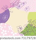 春天的顏色和手繪櫻花背景(方形) 73179728