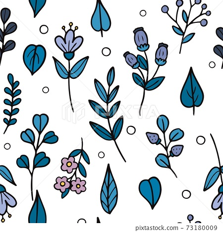 Hand drawn flowers and leaves pattern. Vector illustration 73180009