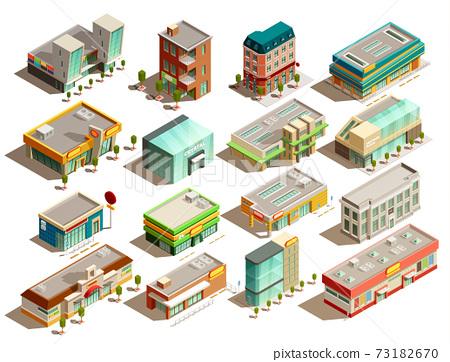 Store Buildings Isometric Icons Set 73182670