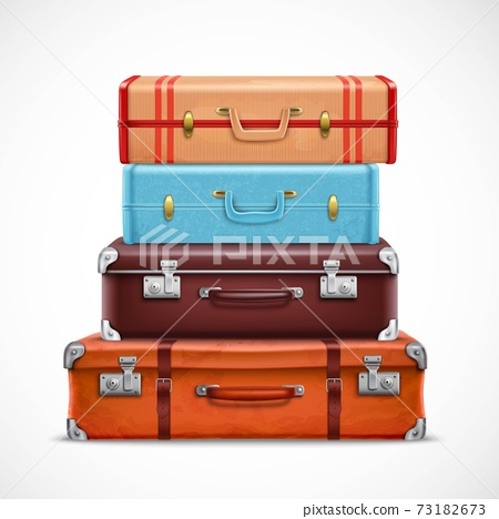 Retro Travel Luggage Suitcases Realistic Set 73182673