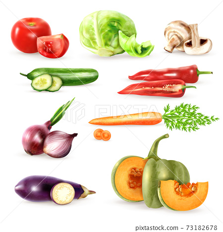 Vegetables Decorative Icons Collection 73182678