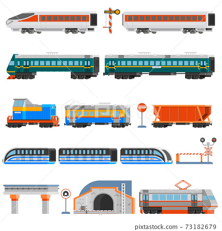 Rail Transport Flat Colorful Icons Set 73182679