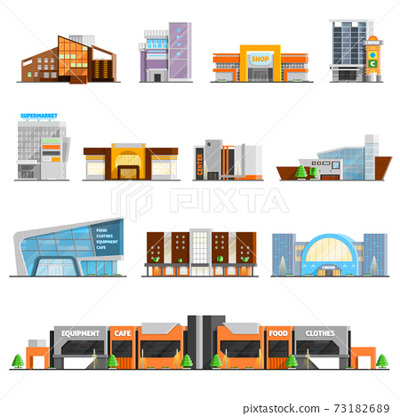 Shopping Mall Icons Set 73182689