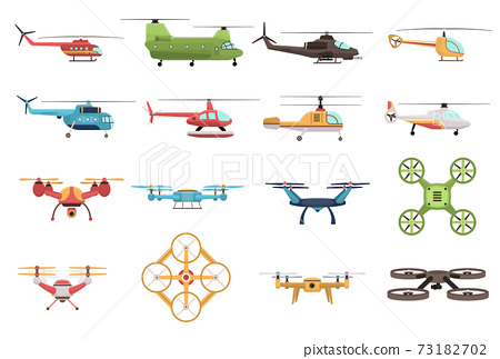 Helicopters And Drone Set 73182702