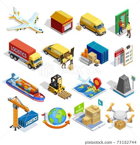 Logistics Isometric Icons Set 73182744