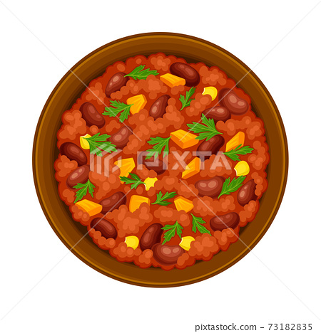 Stewed Beans with Tomato Sauce and Herbs on Plate as Traditional Mexican Dish Vector Illustration 73182835