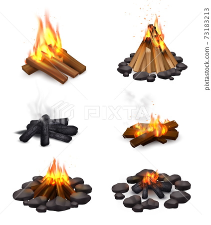 Realistic Steaming Campfire Collection 73183213