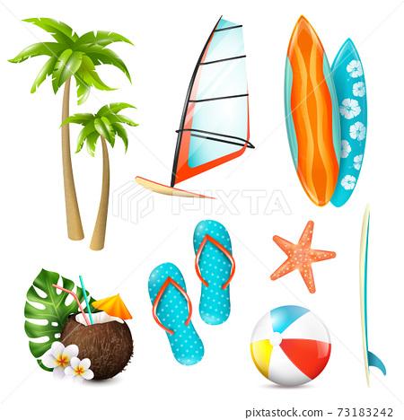 Summer Surf Vacation Items Set 73183242
