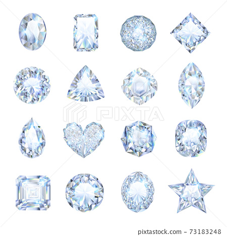 Realistic Gemstones Icons Set 73183248
