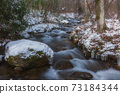 Clear stream of snowy landscape 73184344