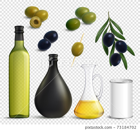 Realistic Olives Oil Transparent Set 73184702