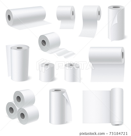 Bathroom Scroll Paper Realistic Set 73184721