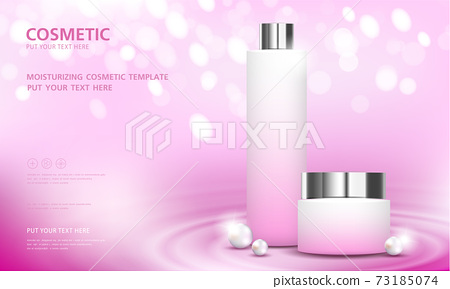 cosmetic product poster, bottle package design with moisturizer cream or liquid, sparkling background with glitter polka, vector design. 73185074