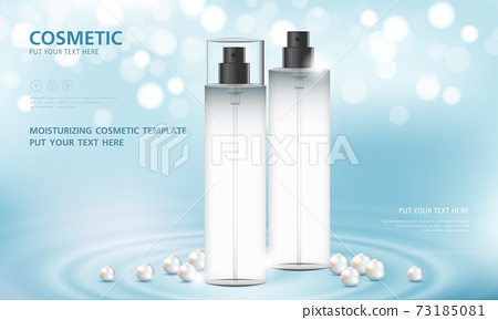 cosmetic product poster, bottle package design with moisturizer cream or liquid, sparkling background with glitter polka, vector design. 73185081