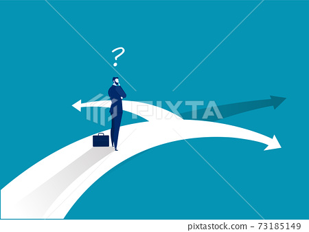 Businessman standing on middle way and choosing direction. Business concept. Modern vector illustration. Direction 73185149