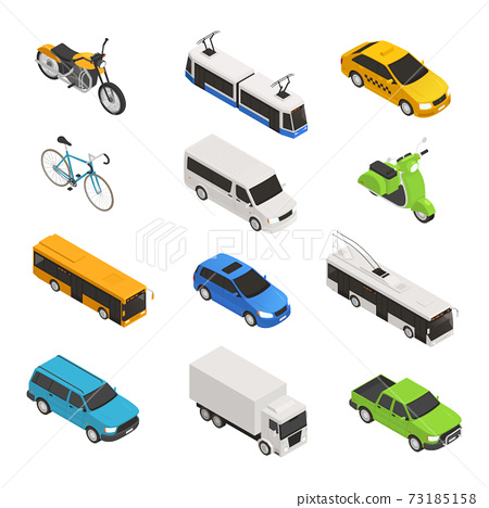 City Transport Isometric Icon Set 73185158