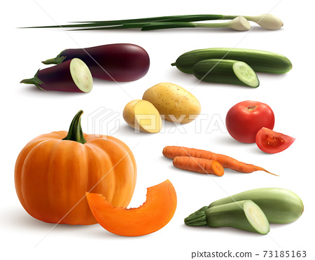 Cutted Vegetables Realistic Set 73185163