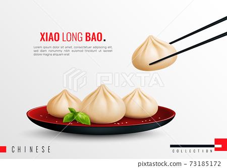 Dumplings Ravioli Manti Realistic Composition 73185172