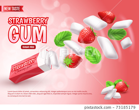 Realistic Chewing Gum Advertising Composition 73185179