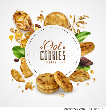 Oat Cookies Frame Realistic Illustration 73185183