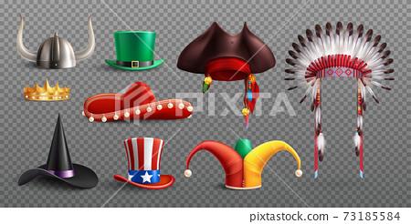 Realistic Masquerade Hats Transparent Set 73185584