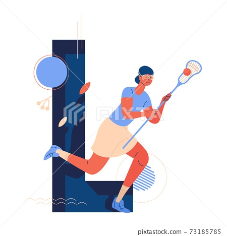 Woman running during lacrosse game match with ball and stick. Capital letter L decorated with leaves and geometric shapes 73185785