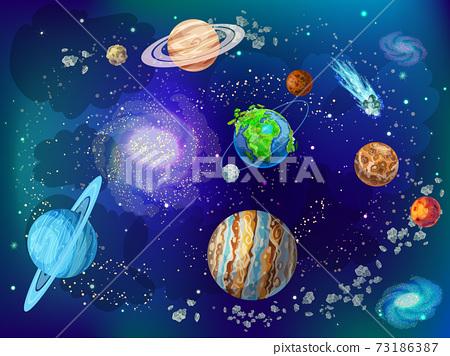 Cartoon Scientific Space Background 73186387