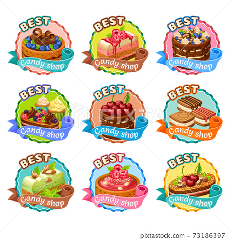 Colorful Candy Shop Stickers Set 73186397