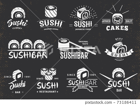 White Traditional Japanese Food Emblems Set 73186411
