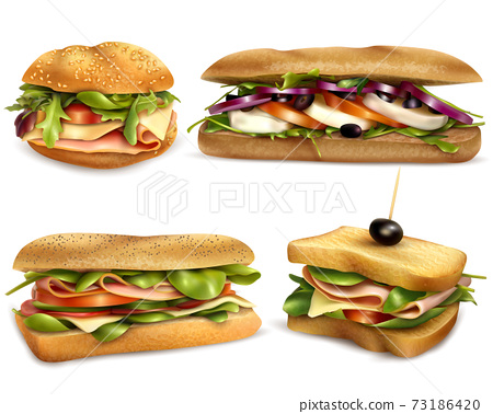 Healthy Fresh Ingredient Sandwiches Realistic Set 73186420