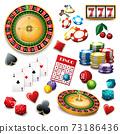 Casino symbols set composition poster 73186436