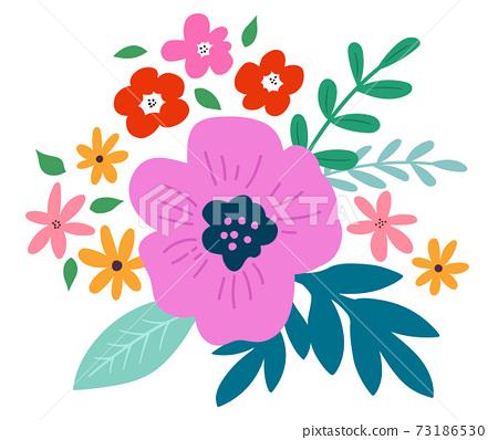 꽃과 잎의 장식 꽃다발 73186530
