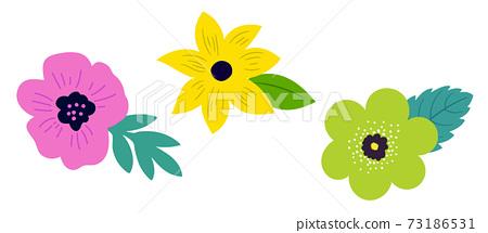 꽃과 잎 아이콘 의한 일러스트 세트 73186531