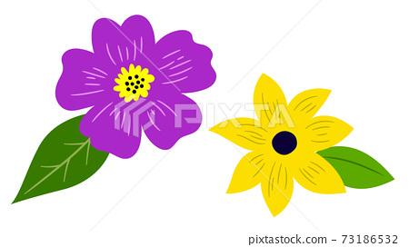 꽃과 잎 아이콘 의한 일러스트 세트 73186532