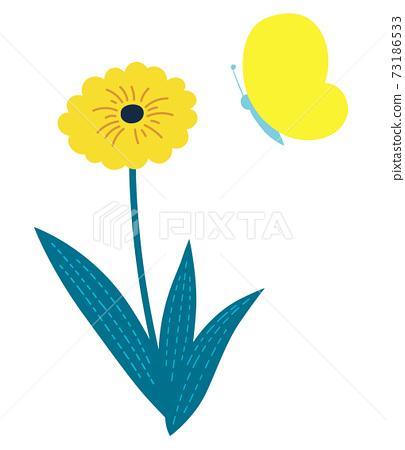 봄 노란 꽃과 나비 73186533