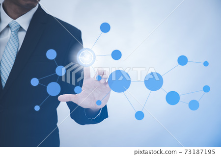 Businessman touchscreen on the graph Screen Icon of a media screen, Technology Process System Business with Communication and marketing icon concept. 73187195